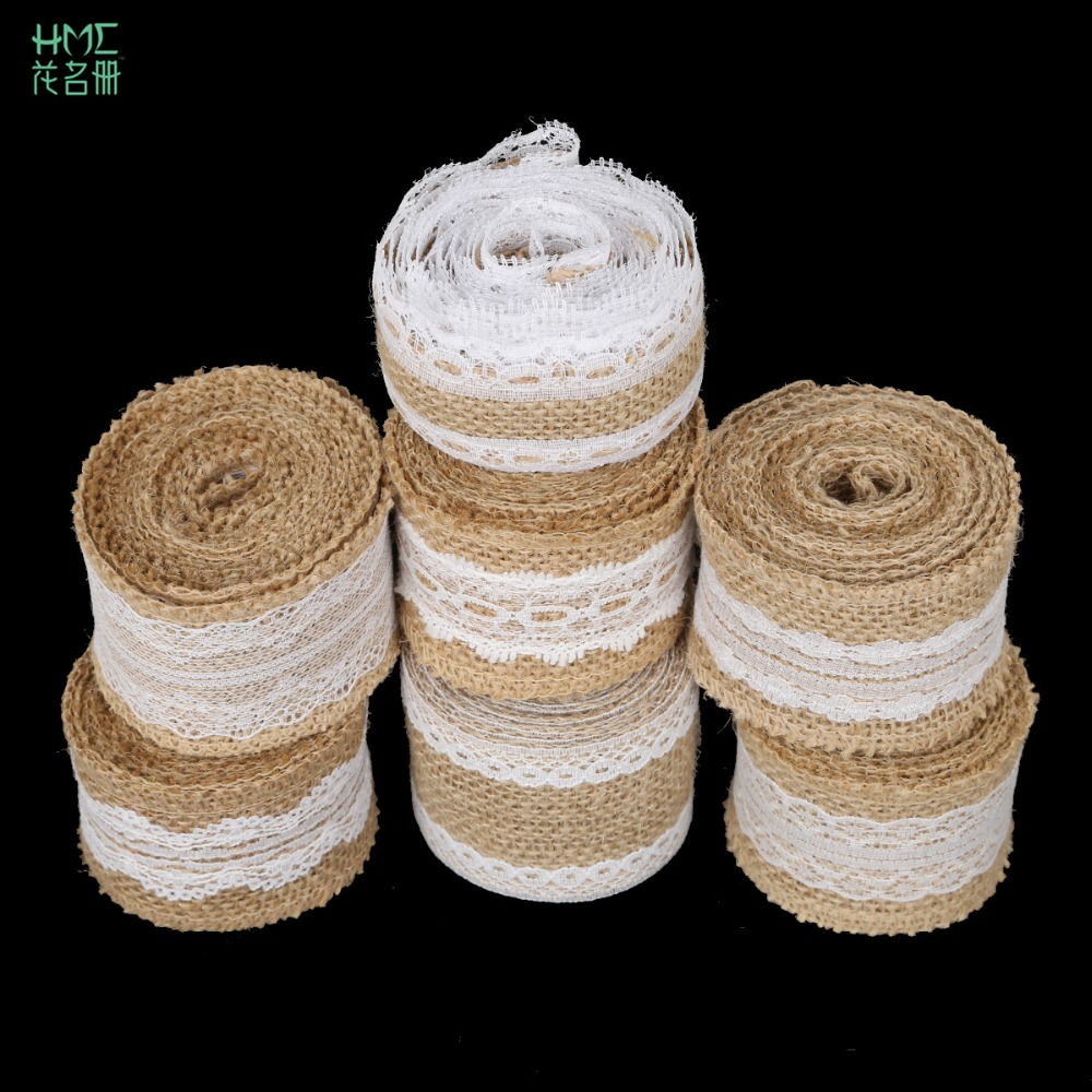 5cm 2m/roll Natural Jute Burlap Hessian Ribbon With Cotton Lace Diy Trim Fabric For Sewing Wedding Decoration Accessories #6