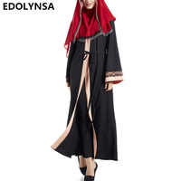 Casual Robe Knitting 2017 Brand Fashion Muslim Dress Abaya Dress Robe Print Dresses Vintage Kaftan Plus
