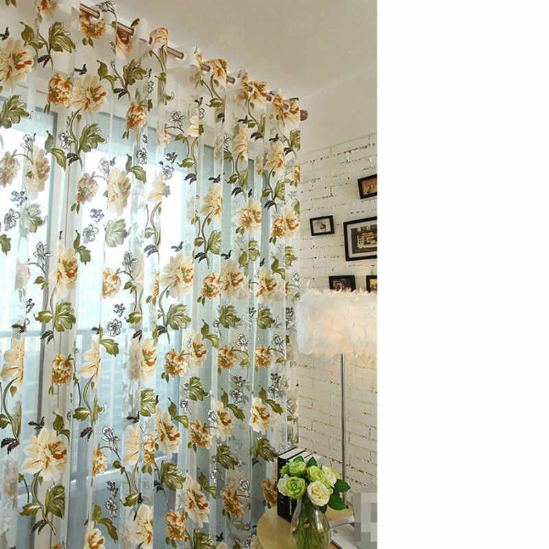 Romantic Rustic Curtain Yarn Customize Products Door Window Balcony Green Pink Tulle Fabrics Floral Design Sheer Panel Valances