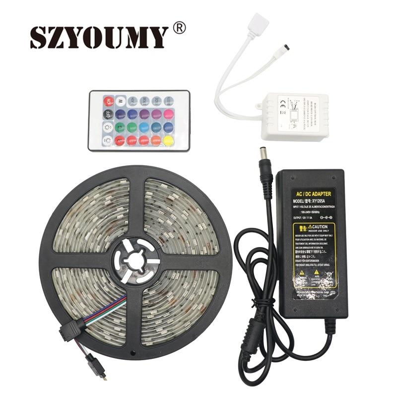 SZYOUMY RGB LED Strip 5050 a prueba de agua 5M 150LEDS SMD + 24Key - Iluminación LED