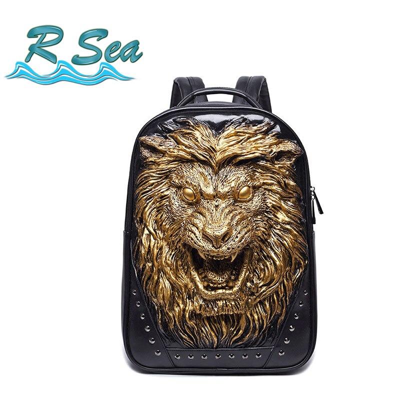 Livraison gratuite sac à dos Portable sac à dos PU sac pour hommes dames voyage ordinateur Animal lion tête sac à dos