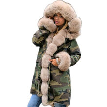 maomaokong2019 long Army green winter jacket coat women outwear warm thick parka natural real fox fur collar coat hooded ukraine(China)