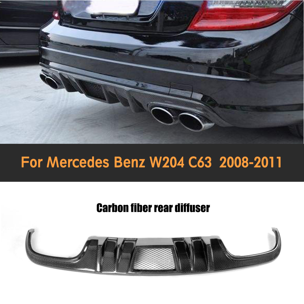 C Class carbon fiber car rear bumper lip diffuser for Mercedes Benz W204 C63 AMG Sedan 4 Door Only 2008 2009 2010 2011