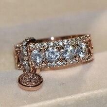 ZHOUYANG кольцо с подвеской в виде диска для женщин, дизайн, уникальное индивидуальное кольцо с кубическим цирконием, 3 цвета, подарки на день рождения, модное ювелирное изделие KCR030