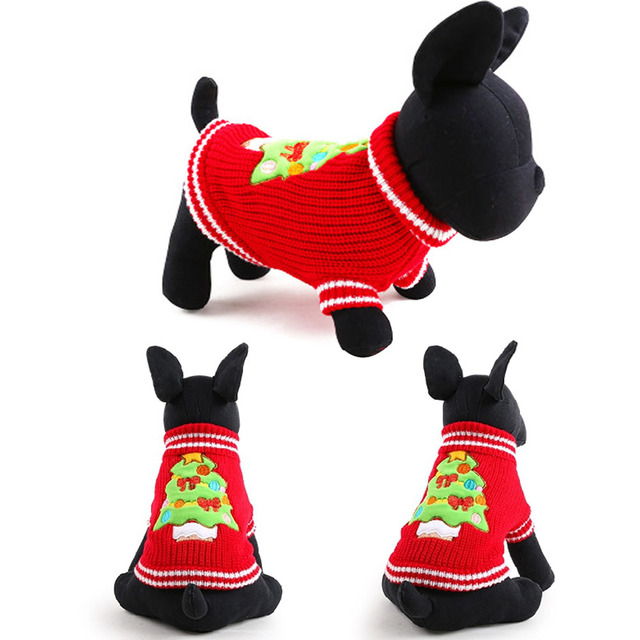 lovely pet clothes dog christmas sweaters winter warm christmas tree print pet clothing costume for small
