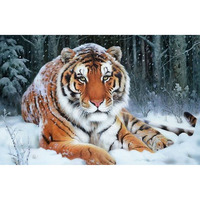 Diy 5D Diamond Painting Tiger Full ROUND Rhinestones Cross Stitch Crystal Mosaic Embroidery Home Decoration Picture