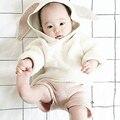 1-5Y Niñas niños Suéteres de Punto Suéteres Cardigan 2016 Otoño Nuevos Bebés Conejo 3D Jersey de Algodón Suéter de Las Muchachas
