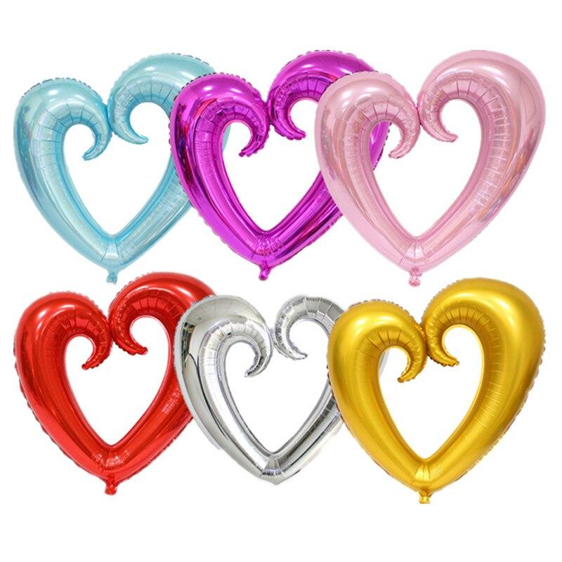QGQYGAVJ 100cm*108cm light 1pcs Large hook heart shape foil balloons heart balloon wedding party decoration marriage balloons