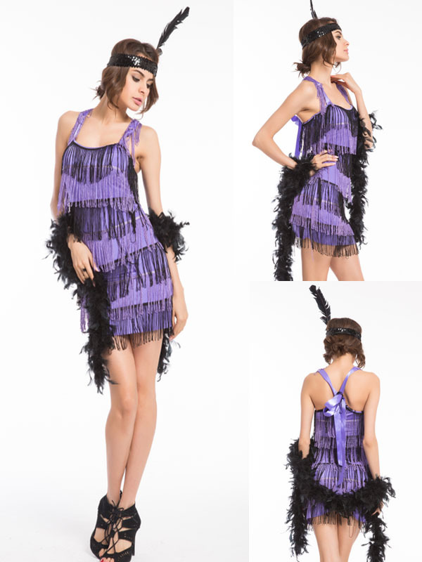 FREE SHIPPING 1920s 20s gold  purple  pink red black Flapper Costume  Charleston Dress Outfit halloween costume size s-2xl 1c09000044e4
