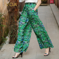 Voa плюс Размеры Свободные двойной Слои шелк Широкие брюки зеленый середины талии Повседневные принты брюк Для женщин Boho Длинные Брюки для д