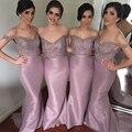 Light Purple Bridesmaid Dresses Beaded Vestidos De Madrinha Long Bridesmaid Dress V Neck Appliques Bridesmaid Gown Vestido Longo