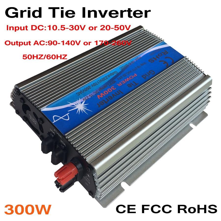 300W MPPT grid tie inverter,10.5-30V/ 20-50VDC to AC 110V/220V pure sine wave output solar wind power inverter цены
