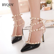 BYQDY Woman Pumps Sexy Narrow Band Classic Rivet Shoes Ladies Thin Heels Female Pantent Leather Weeding Shoe Summer High