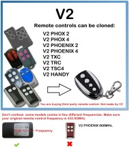 V2 PHOX 2,4, PHOENIX 2,4, TXC, TRC, TSC4, HANDY Remote Control Duplicator 433.92MHZ rolling code v2 compatible remote for v2 garage door remote model v2 txc phoenix2 phoenix4 tsc4 trc v2 handy remote compatible