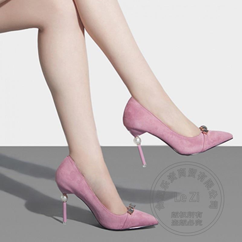 Slip On Thin Heel Wedding Pearl Korean Shoes For font b Women b font Performance Princess