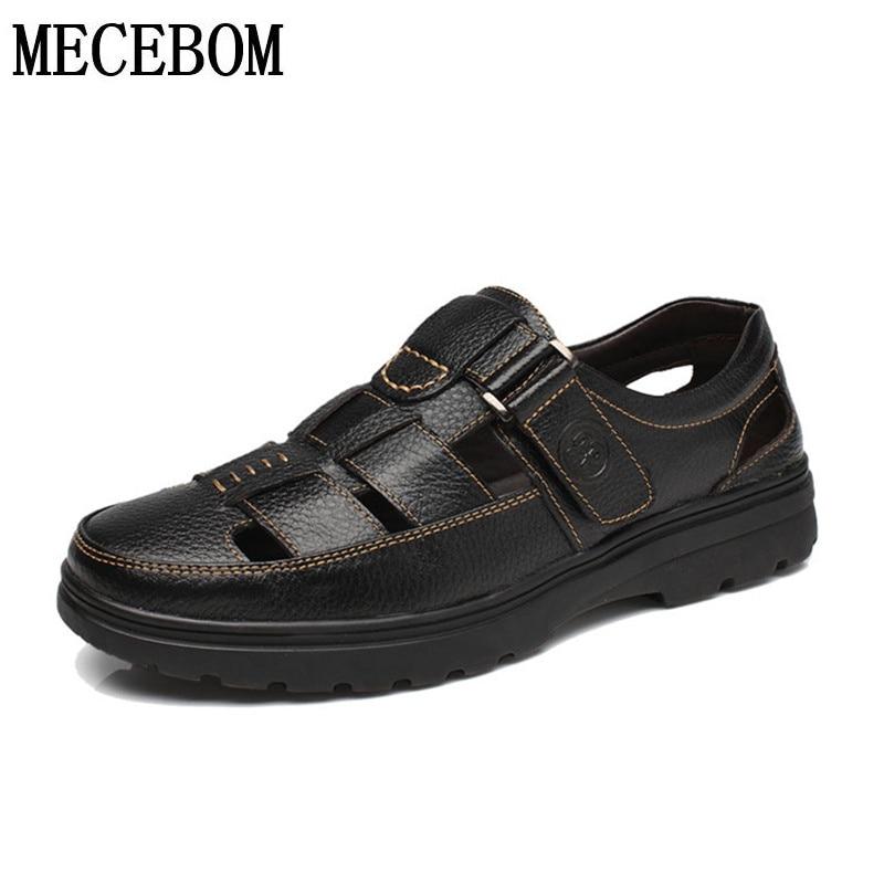 Mens Summer Sandals qualtiy genuine leather casual shoes men beach sandals fathers shoes moccasins size 38-44 8911m