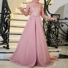 Shiny Nude Pink Lace Muslim Long Evening Sequins Bead Party Dresses Full Sleeves With Hijab Middle East Prom Gowns 2017 Bow