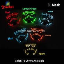10 стиль Star Wars EL провода мигает моды маска неоновый LED резьбы Веревка маска подарок батарейках партии Маска для Хэллоуин реквизит