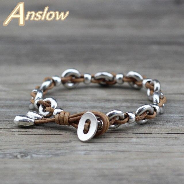 Us 3 69 22 Off Anslow Fashion Jewelry Real Leather Handmade Diy Vintage Retro Leather Bracelets Bangle Men Women Unisex Black Friday Low0665lb In