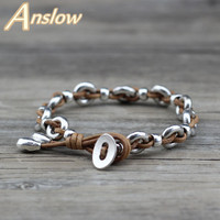 Anslow Fashion Jewelry Real Leather Handmade DIY Vintage Retro Leather   Bracelets     Bangle   Men Women Unisex Black Friday LOW0665LB