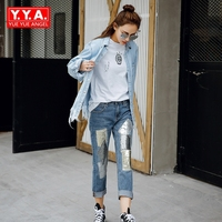High Quality 2017 New Fashion Womens Design Hole Denim 2pcs Sets Female Sequined Tassel Pockets Button