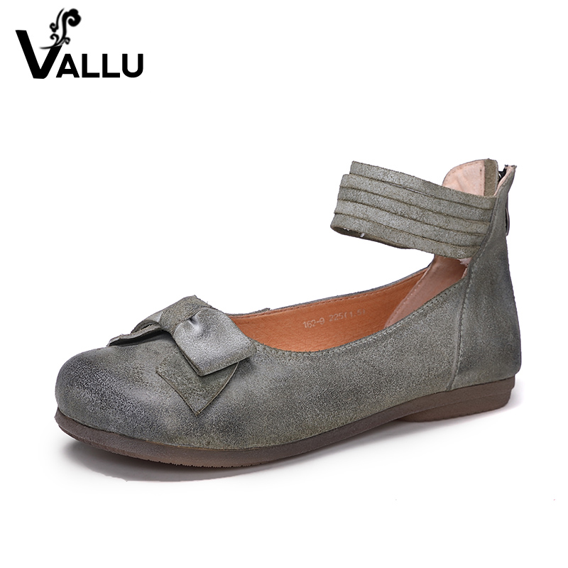Bowknot Women' s Casual Shoes Ankle Strap Ladies Sandals Genuine Leather Back Zipper Top Selling Comfortable Female Flat Shoes women s shoes 2017 summer new fashion footwear women s air network flat shoes breathable comfortable casual shoes jdt103