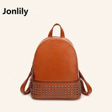 Jonlily Split Leather Backpack Japan and Korean Style Women's Fashion Trend Leisure All-match Personality Travel Youthful-GL046