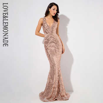 Love&Lemonade Deep V-Neck Rose Gold Geometric Sequins Mesh Lining Sleeveless  Dress LM81336 Autumn/Winter - DISCOUNT ITEM  10% OFF All Category