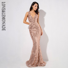 Love Lemonade Deep V-Neck Rose Gold Geometric Sequins Mesh Lining  Sleeveless Long Dress LM81336GOLD( 51ce0fd08bdc