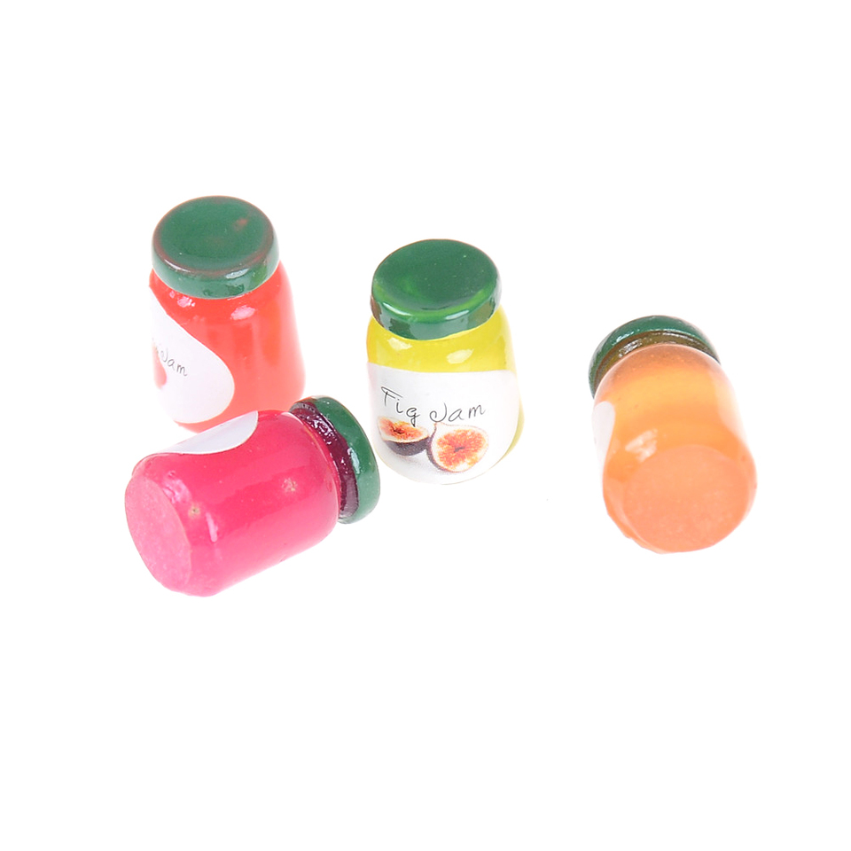 Dollhouse Miniatures 1:12 Accessories Jams Miniature Kitchen 4 Bottles JamsBDAU