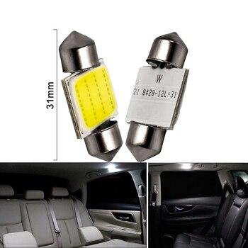 1x C10W C5W LED COB feston 31mm 36mm 39mm 41/42mm 12V ampoules blanches pour voitures plaque d'immatriculation intérieur liseuse 6500K 12SMD 1