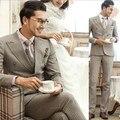 Британский Двубортный Мужские Этап Одежда 2 Шт. Костюмы С брюки Жениха Свадьба Костюм Для Мужчин Смокинг Формальные Trajes Hombres