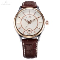 KS Rose Gold Stainless Steel Relogio Masculino Auto Date Display Leather Band Self Wind Mens Automatic