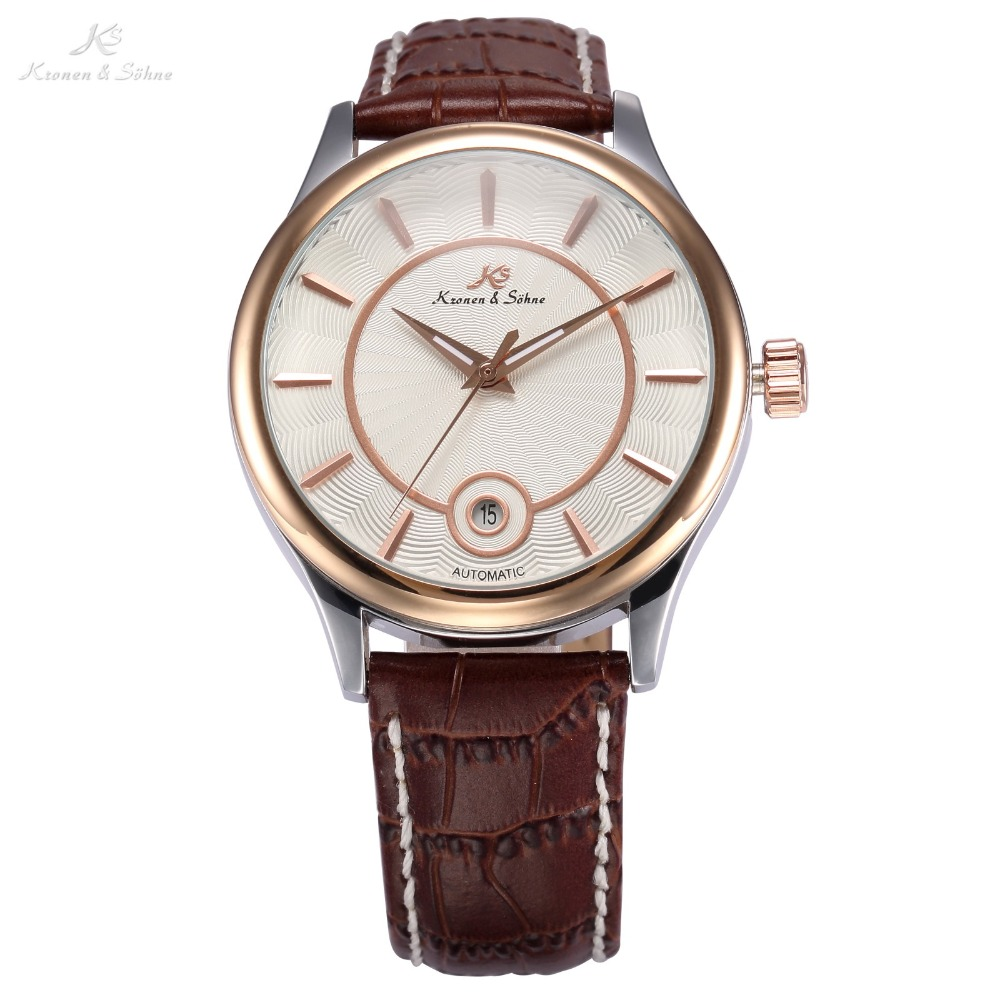 KS Rose Gold Stainless Steel Relogio Masculino Auto Date Display Leather Band Self Wind Mens Automatic Mechanical Watches /KS263 ks watches luxury date day display relogio masculino leather band automatic self winding men mechanical wrist watch gift ks183