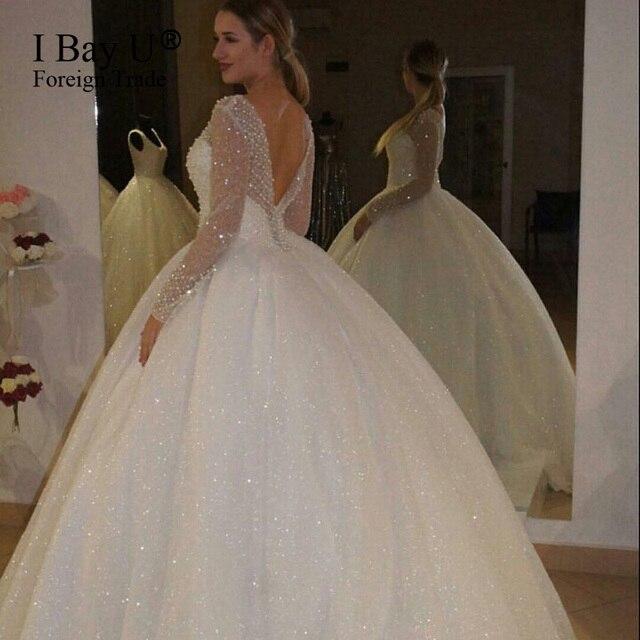 De lujo Lleno de Perlas Vestido de Novia Brillante Punto de Tul de ...