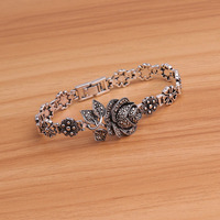60f4eef9d51e Feelgood Turkish Vintage Silver Color Jewelry Elegant Rhinestone Rose  Flower Bracelets Floral Bracelet For Women Wedding