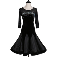 Latin Dance Dress New Performance Adult Sexy Latin Dance Competition Dress Black Skirt Half Sleeves 2 Styles For Samba Rumba