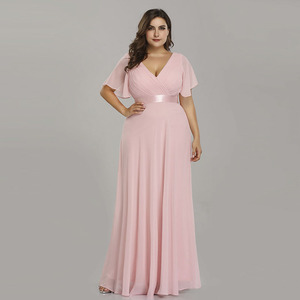 Image 2 - Fioletowe suknie wieczorowe Plus rozmiar elegancka linia szyfonowa długie suknie na imprezę dla pań tanie sukienki na specjalne okazje z rękawem