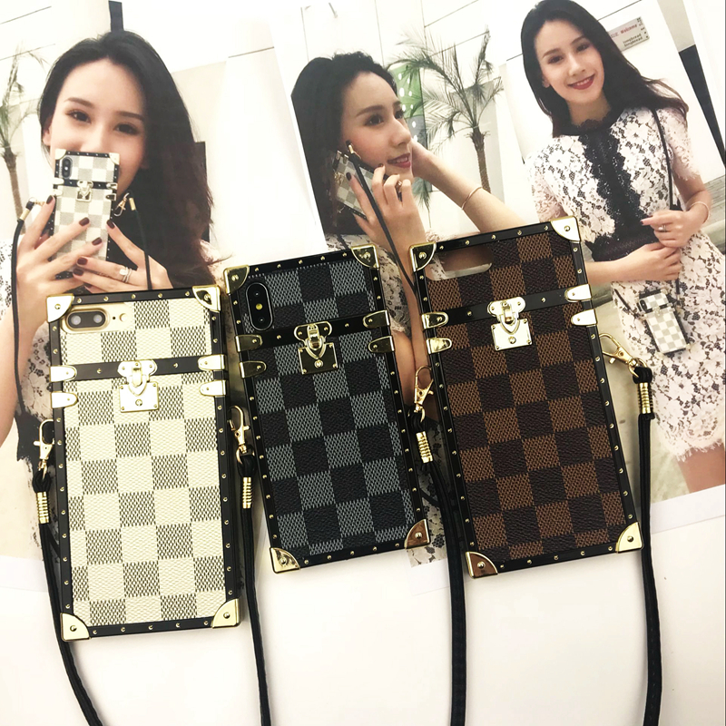 SZYHOME Phone Cases for Iphone X 6 7 8 Plus Vintage Luxury Fashion Square Lattice Straps Lanyard TPU Silicon Soft Phone Cover