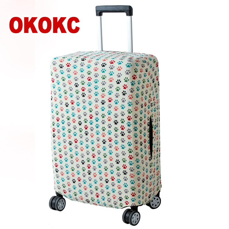 OKOKC Thin Bear Paw Printing Luggage Protective Cover Travel Suitcase,Dust Zipper Cover Elastic Waterproof Accessories Covers