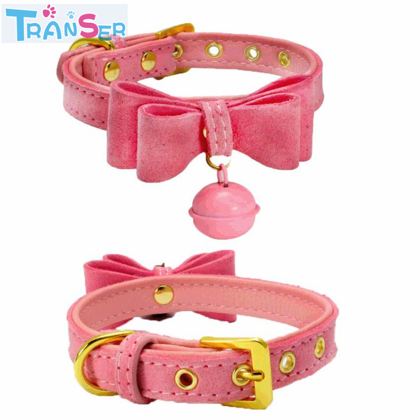 Transer Fashion XXS/XS/S/M 1Pcs 7 COLOR Dog Collar Adjustable Leather With Bell Pet Puppy Neck Comfortable Strap 17Jan10