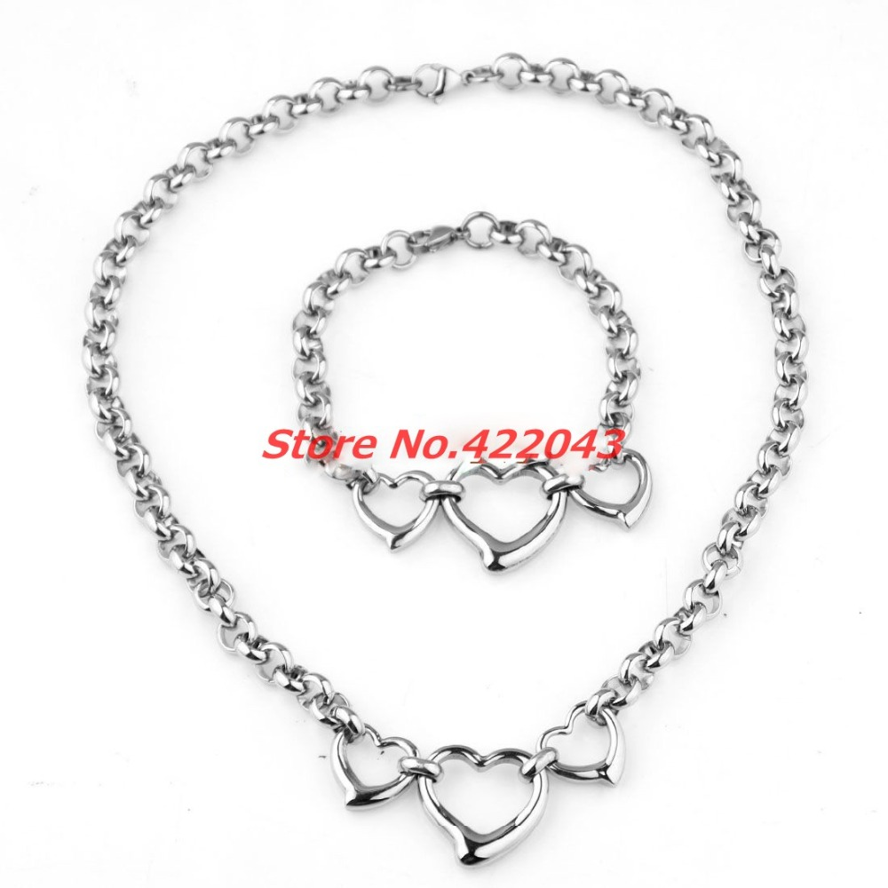 Charming On Sale Women's Girl's Silver Polished 316L Stainless Steel Heart Rolo Chain Collar Bangle Earrings Set Charming Gift