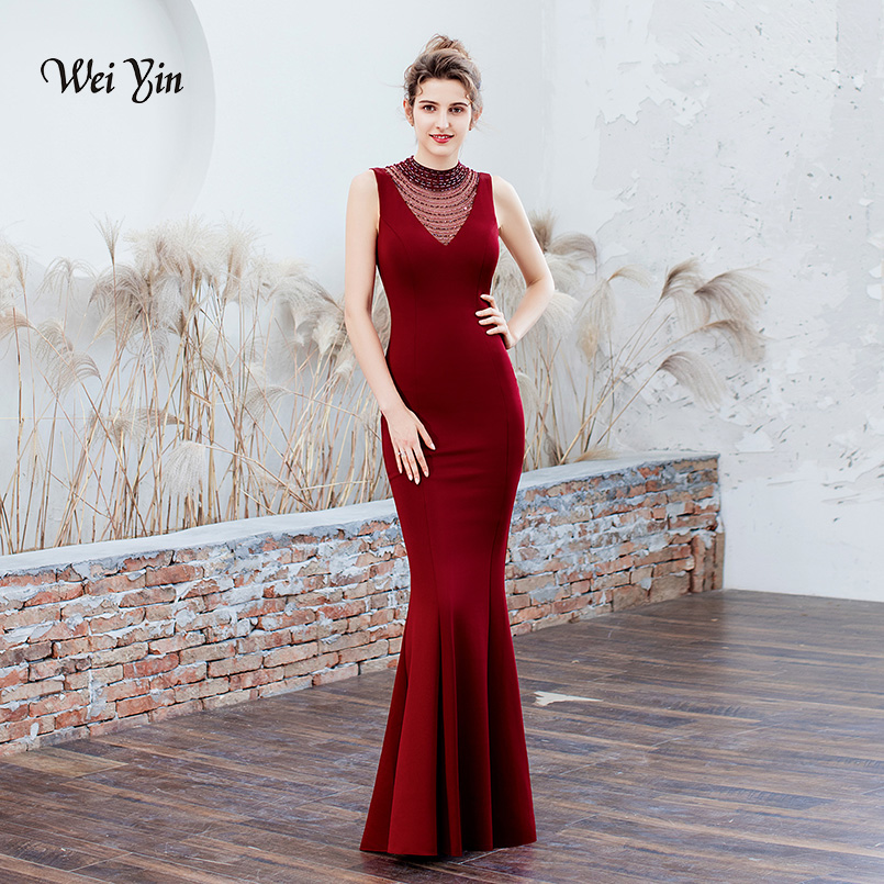 wei yin Robe de Soiree Longue Cheap Wine Red Mermaid Long Evening Dress Sexy Sheer Crystal Evening Party Dresses WY1792 image
