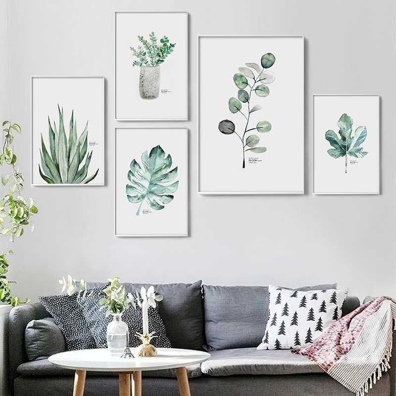 Простая Акварельная ваза, зеленое растение, художественный плакат, настенное искусство, печать на холсте, картина, Современное украшение для дома, гостиной, на заказ