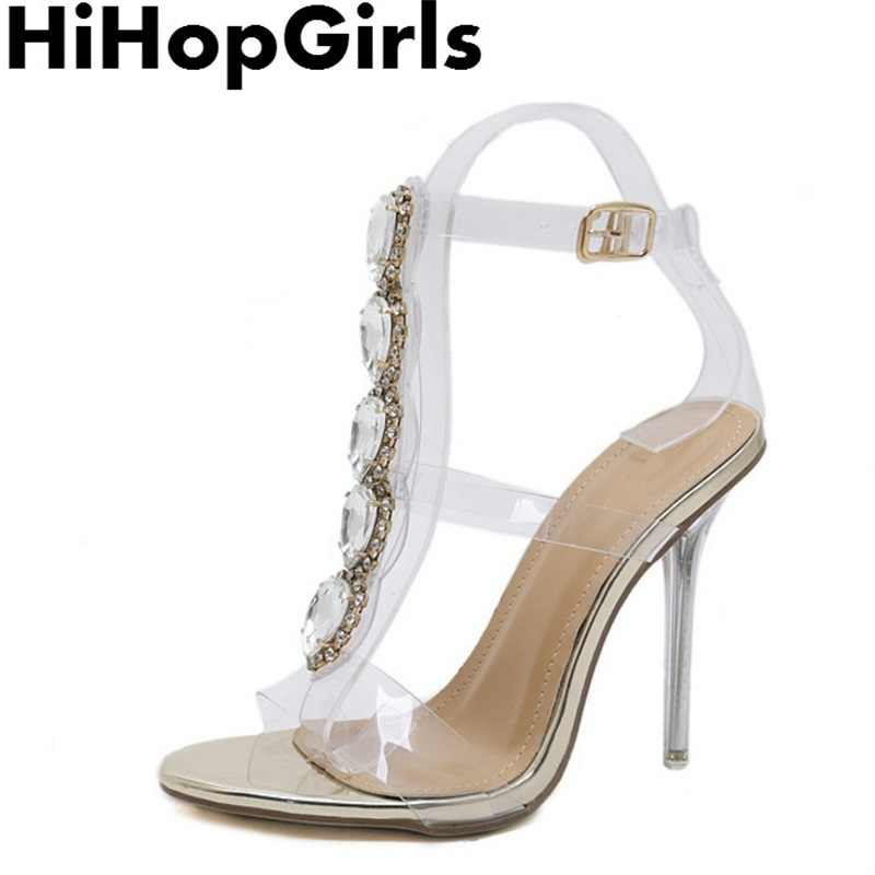 85b9749029 HiHopGirls Summer Luxury Rhinestone PVC Transparent Pumps Women Sandals  Sexy High Heels Fashion Buckle Crystal With Woman Shoes
