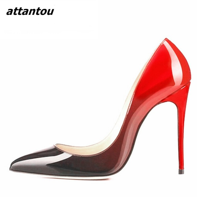 ada6e0a1014e2 Fancy Women High Heels Wedding Shoes Black Red Patent Leather Slip-on Pumps  Sexy Pointed Toe Stiletto High Heel Dress Shoes