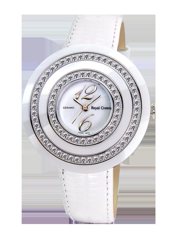 Royal Crown Jewelry Watch 3797 Italy brand Diamond Japan MIYOTA platinum Diamond Quartz Ladies WristWatches Women Dress Watches