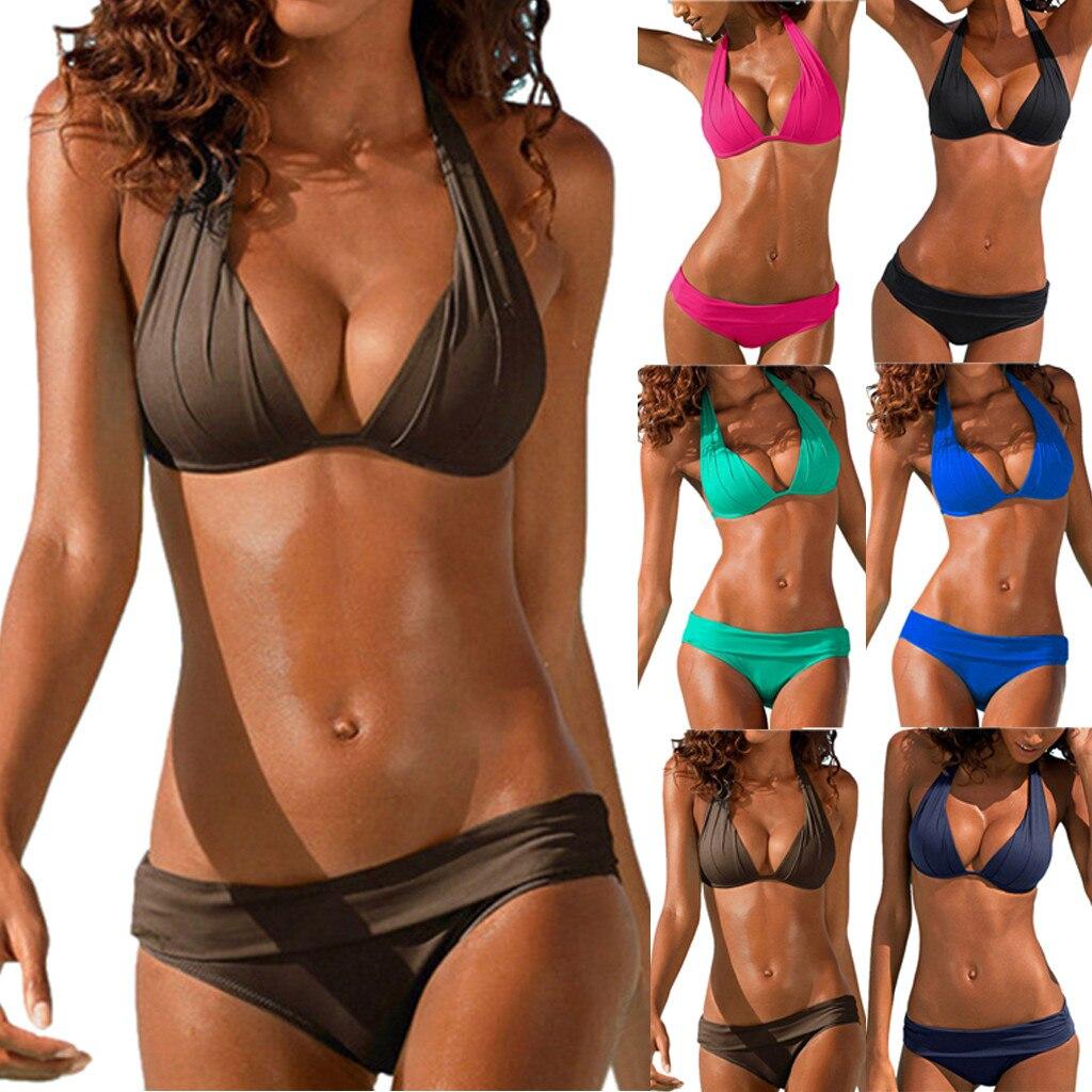 Swimwear Women Bikini Set Print  Swimsuit Push Up Swimwear Brazilian Bikini Set Halter Retro Beach Bathing Suits Swimsuit 1