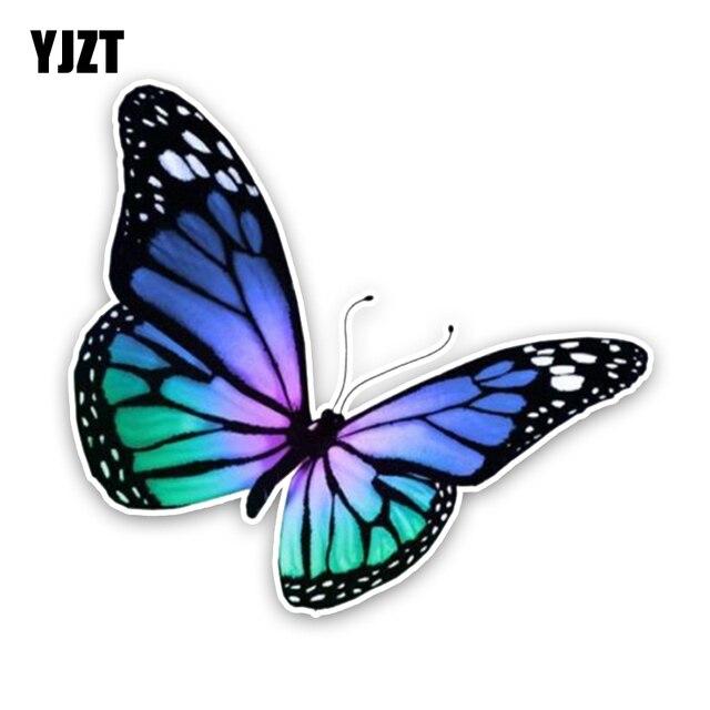Yjzt 14 3 cm 13 1 cm int ressant belle bande dessin e papillon couleur pvc voiture autocollant - Papillon dessin couleur ...