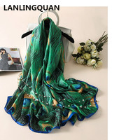 Desigua Scarf Luxury Brand New Spring And Summer Fashion Elegant Silk Soft Green Peacock Feather